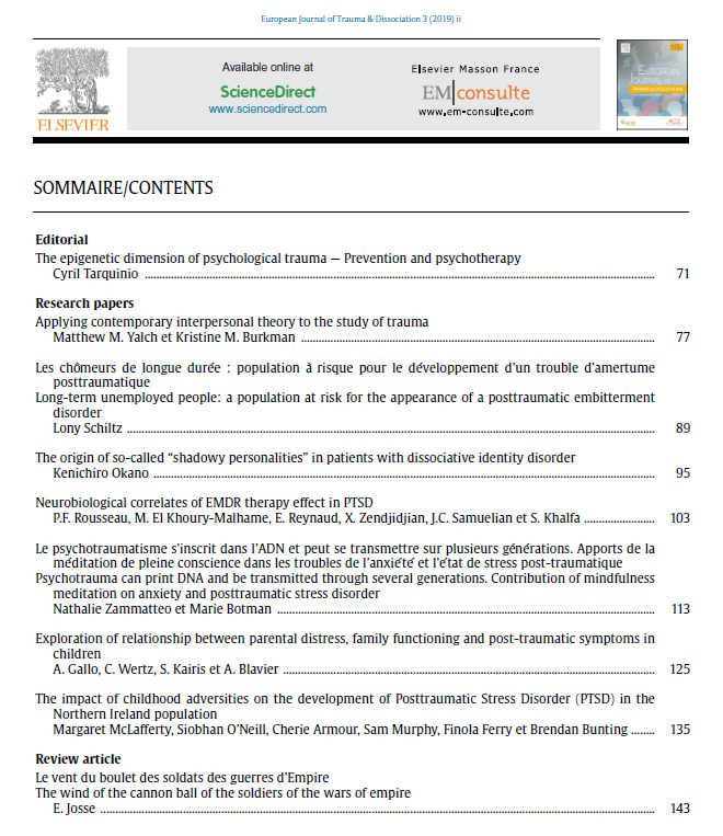 European Journal of Trauma & Dissociation - May 2019 - Table of Content